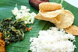 Indian cuisine banana leaf