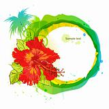 Summer time background. Hibiscus and palm
