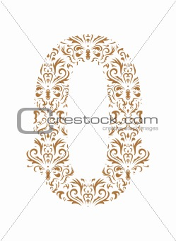 Floral number. Ornament font