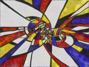 Mondrian colors in Van Gogh technique