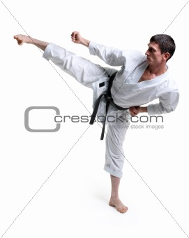 Karate. Man in a gi kicking