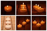 Different candles on a bamboo carpet