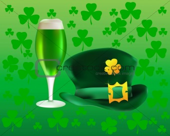 hat and a glass of green beer