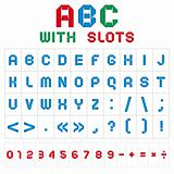ABC font with slots, color on white background
