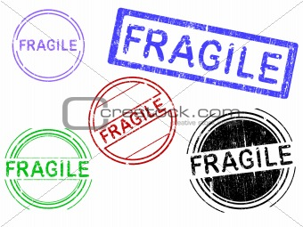 5 Grunge Stamps - FRAGILE