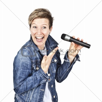 women with microphone