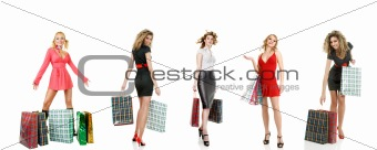 Set of shopping girls