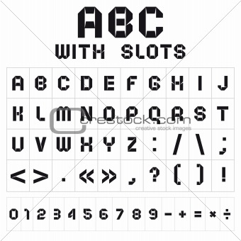 ABC font with slots, black on white background