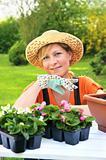 Young woman - gardening