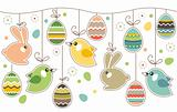 Seamless easter border with rabbits