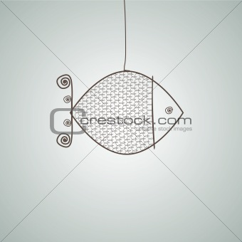 Abstract bird from metal wire. Vector illustration