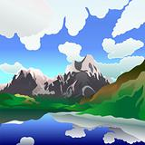 Vector landscape with mountain lake