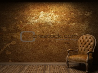 old concrete wall and chair
