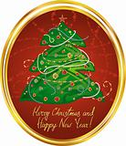 New Year greeting card in red