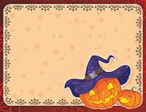 Halloween card with pumpkins