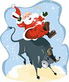 Funny cartoon displayed Santa on rodeo
