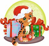 Tiger-cub with Christmas gifts.
