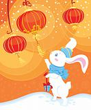 white rabbit and Chinese lanterns