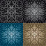 Seamless wallpaper pattern floral, black