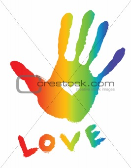 bright colorful hand-print with heart