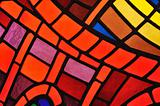 Stained glass window in church - background