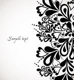 Retro black floral design. Abstract vector