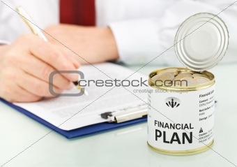 Business man making financial plan concept - closeup