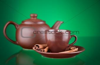 ceramic teapot with tea