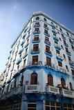 Tall old apartment block Havana