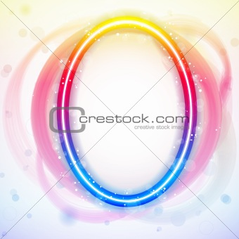 Number Rainbow Lights in Circle White Background