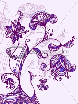 card with abstract blue-violet flowers