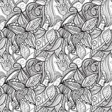 seamless hand drawn monochrome floral pattern