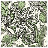 seamless hand drawn floral pattern in green