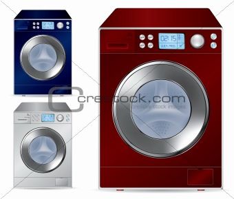 Fully automatic front loading washing machine - vector illustration