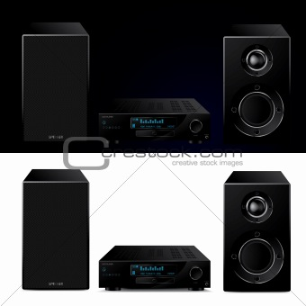 High end modern audio system - vector illustration