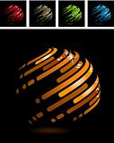 Abstract ball made of stripes