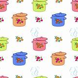 Seamless background, kitchen pan