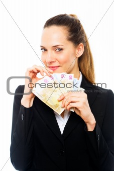 Young businesswoman holding banknotes on white background studio