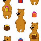 Seamless background, bear with gifts