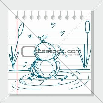 sketched frog prince