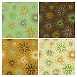 Fire Flower Pattern in Green and Brown