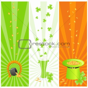 Ireland national colored banners with st. patrick day's symbols