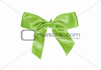 Green satin gift bow isolated on white