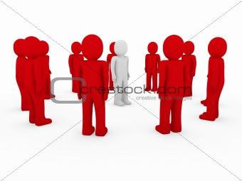 3d human group circle red