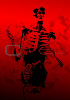 Bloody 2D Skeleton With Guts