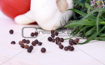 Close up of black peppercorns