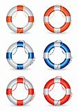Set of 6 lifebuoy vector illustrations
