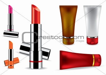 Lipstick and face cream - vector illustration