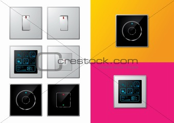 Set of modern electrical switches - vector illustrations
