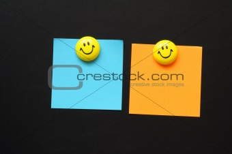 smiley and paper with copyspace